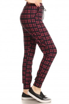 BLACK/RED PLAID PRINT JOGGER WITH SHOE LACE TIE#8TRK36-02