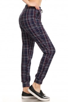 NAVY/MAUVE/BUR PLAID PRINT JOGGER WITH SHOE LACE TIE#8TRK36-04