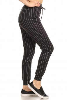 BLACK/DARK GREY STRIPE PRINT JOGGER WITH SHOE LACE TIE#8TRK36-08