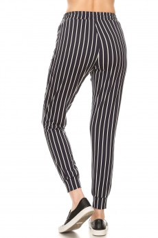 NAVY/WHITE STRIPE PRINT JOGGER WITH SHOE LACE TIE#8TRK36-SP33