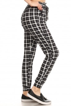 BLACK/WHITE PLAID PRINT PAPERBAG WAIST JOGGER#8TRK47-01