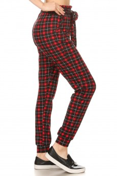 BLACK/RED PLAID PRINT PAPERBAG WAIST JOGGER #8TRK47-02