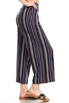 NAVY/PINK/WHITE STRIPE PRINT HIGH WAIST CULOTTES W PLEATS #9CLT02-SP05A