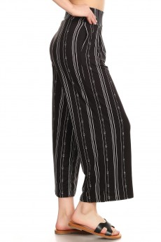 BLACK/WHITE TRIBAL STRIPE PRINT HIGH WAIST CULOTTES W PLEATS#9CLT02-TB01
