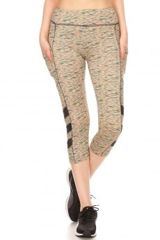 MULTI SPACE DYE PRINT SIDE POCKET CAPRIS W/ MESH PANELS#9CP05-SD05