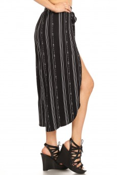 BLACK/WHITE TRIBAL PRINT BRUSH POLY WRAP CULOTTES#9CWR02-TB01