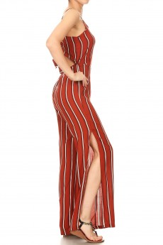 RUSTY/WHITE/BLACK STRIPE PRINT RAYON JUMPSUIT W/ OPEN TIE BACK#9JPS03-03