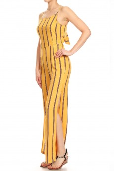 YELLOW/WHITE/WINE STRIPE PRINT RAYON JUMPSUIT W/ OPEN TIE BACK#9JPS03-04