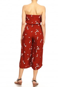 RUS/WHT FLORAL PRINT RAYON TUBE TOP CROPPED JUMPSUIT#9JPS04-02