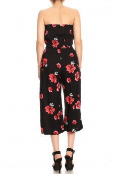 BLACK/RED FLORAL PRINT RAYON TUBE TOP CROPPED JUMPSUIT#9JPS04-06