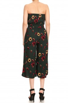 HUNTER GREEN/RED FLORAL PRINT RAYON TUBE TOP CROPPED JUMPSUIT#9JPS04-07