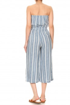 BLUE DEN/WHITE STRIPE PRINT RAYON TUBE TOP CROPPED JUMPSUIT#9JPS04-10