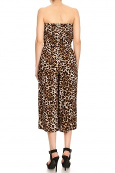 BROWN/WHITE ANIMAL PRINT RAYON TUBE TOP CROPPED JUMPSUIT#9JPS04-SK02