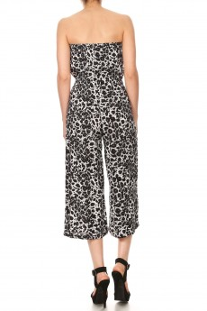 BLACK/WHITE ANIMAL PRINT RAYON TUBE TOP CROPPED JUMPSUIT#9JPS04-SK02A