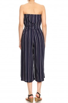 NAVY/PINK/WHITE STRIPE PRINT RAYON TUBE TOP CROPPED JUMPSUIT#9JPS04-SP02A
