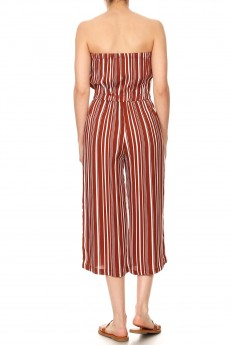 RUSTY/WHITE STRIPE PRINT RAYON TUBE TOP CROPPED JUMPSUIT#9JPS04-SP17A