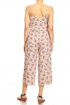 LIGHT PINK/BLUE FLORAL PRINT CROPPED JUMPSUIT W/ FRONT TIE#9JPS05-01