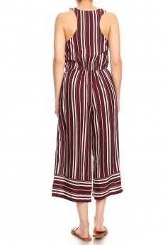 BURGUNDY/WHITE STRIPE BORDER PRINT BUTTONED TANK CROPPED JUMPSUIT#9JPS12-03