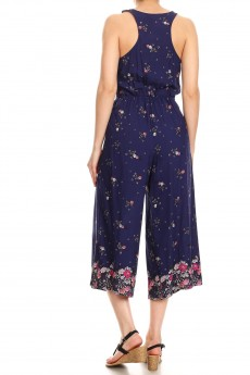 NAVY/PINK FLORAL BORDER PRINT BUTTONED TANK CROPPED JUMPSUIT#9JPS12-06