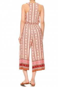 CREAM/PINK FLORAL BORDER PRINT BUTTONED TANK CROPPED JUMPSUIT#9JPS12-07
