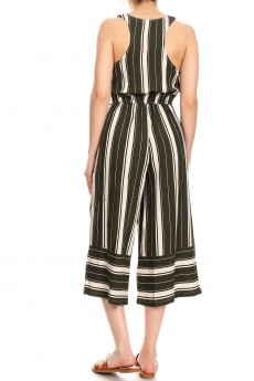 OLIVE/CREAM STRIPE BORDER PRINT BUTTONED TANK CROPPED JUMPSUIT#9JPS12-09