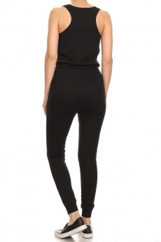 FITTED BUTTON DOWN RIB JOGGER JUMPSUIT#9JPS14