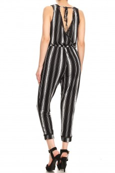 BLACK/HEATHER GREY STRIPE PRINT BACK OVERLAP EYELET TRIM CROP JUMPSUIT#9JPS15-SP01
