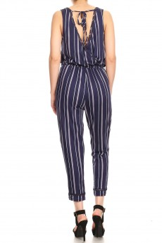 NAVY/PINK STRIPE PRINT BACK EYELET TRIM CROP JUMPSUIT#9JPS15-SP02A