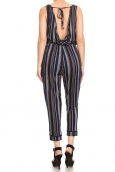 NAVY/MUSTARD STRIPE PRINT BACK OVERLAP EYELET TRIM CROP JUMPSUIT#9JPS15-SP05A