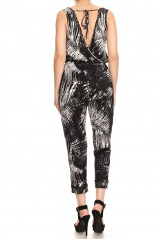 BLACK/WHITE TROPICAL PRINT BACK OVERLAP EYELET TRIM CROP JUMPSUIT#9JPS15-TP01A