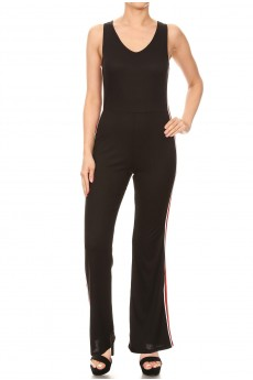 BLACK DOUBLE V NECK FLARE PANT RIB JUMPSUIT W/ SIDE STRIPE TAPE#9JPS24-01
