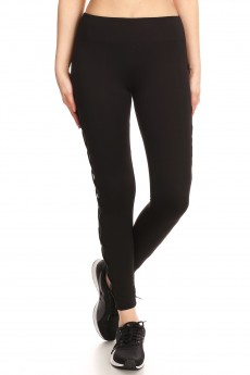 LEGGING W/ CONTRAST MESH & CRISS CROSS SIDE PANELS#9L03