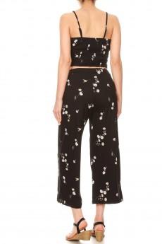 BLACK/LAVENDER FLORAL PRINT CROPPED CAMI TOP & STRAIGHT PANT SET#9SET03-FL06