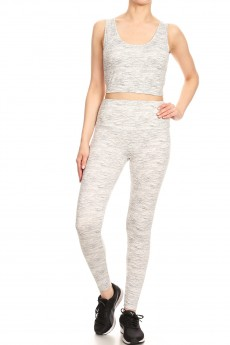 GREY/WHITE SPACE DYE PRINT BRUSH POLY CRISS CROSS TANK & CROPPED LEGGING SET#9SET10-SD07