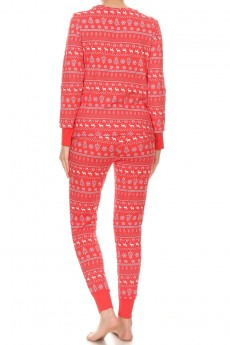 RED/WHITE FAIRISLE PRINT FLEECE LINED BRUSH POLY CONTRAST CUFF LONG SLEEVE TOP AND JOGGER SET#9SET19-HL18