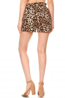 BROWN/CREAM ANIMAL PRINT PAPERBAG SHORTS W/ SASH#9SH06-SK02