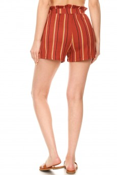 RUSTY/BLACK/WHITE STRIPE PRINT PAPERBAG SHORTS W/ SASH#9SH06-SP02