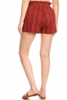 RUSTY/BLACK/WHITE STRIPE PRINT PAPERBAG SHORTS W/ SASH#9SH06-SP22