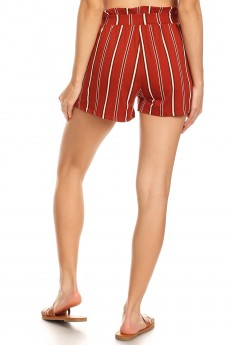 RUSTY/BLACK/WHITE STRIPE PRINT PAPERBAG SHORTS W/ SASH#9SH06-SP23