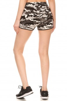 BLACK/GREY/WHITE CAMO PRINT TRACK SHORTS#9SH14-CM02