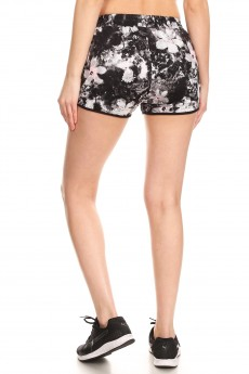 BLACK/WHITE/PINK ABSTRACT FLORAL PRINT TRACK SHORTS#9SH14-FL05D