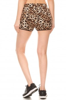 BROWN/BLACK/WHITE ANIMAL PRINT TRACK SHORTS#9SH14-SK02