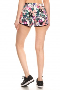 PINK/WHITE TROPICAL PRINT TRACK SHORTS#9SH14-TP03