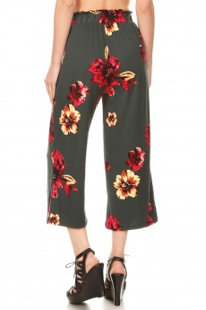 BRUSH POLY CROPPED PAPERBAG STRAIGHT LEG PANTS#9SLP02-FL02