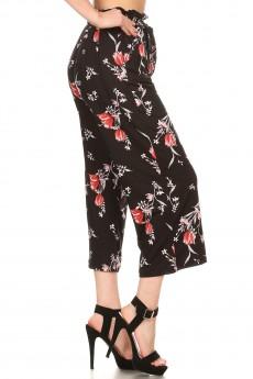 BLACK/RED FLORAL PRINT CROPPED PAPER BAG WIDE LEG PANTS#9SLP02-FL04A