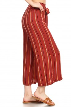RUSTY/MUSTARD/WHITE STRIPE PRINT CROPPED WIDE LEG PANTS W/ SASH#9SLP04-SP02