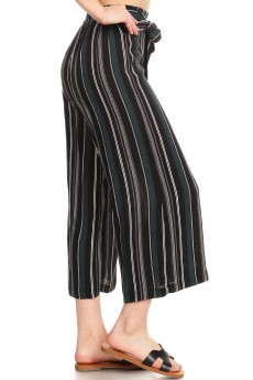 BLACK/GREEN/WHITE STRIPE PRINT CROPPED WIDE LEG PANTS W/ SASH#9SLP04-SP05