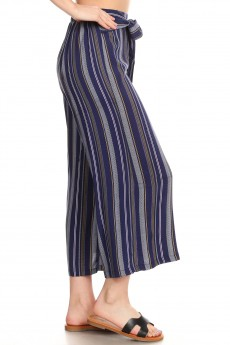 NAVY/PINK/MUTARDS STRIPE PRINT CROPPED WIDE LEG PANTS W/ SASH#9SLP04-SP05A