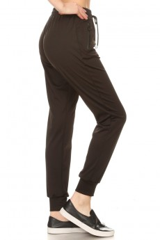 BLACK POLYESTER JOGGER W/ O RING POCKET ZIPPER#9TRK13