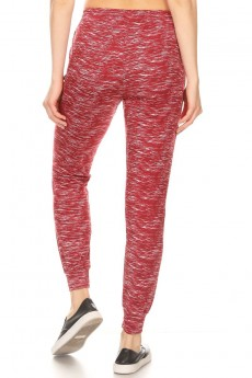 BURGUNDY/WHITE SPACE DYE PRINT FLEECE LINED JOGGER WITH SHOE LACE TIE #9TRK16-SD08